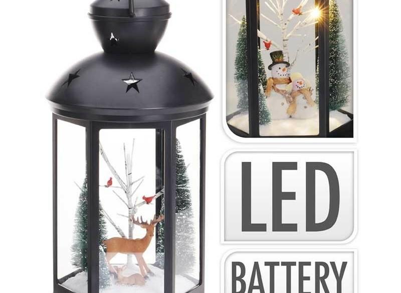 Kerstlantaarn 43cm - met licht en sneeuwpop  Alleen deze we…