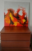 Handgeschilderd olieverf schilderij vuur 80x80