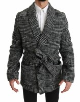 Dolce & Gabbana Gray Checkered Wool Robe Coat Wrap Jacket I…