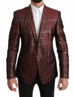 Dolce & Gabbana Bordeaux Gray Shiny GOLD Jacket Blazer IT50…