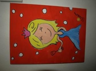 Hippe meisjes schilderijtjes