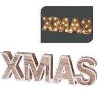 XMAS - houten letters - 38cm - 25 LED  Alleen deze week 10%…