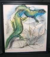Smaragdhagedis,tekening,K.Jaude, repro aquarel, 40x43 cm,gs…