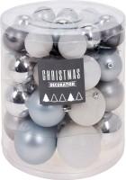 Kerstballenset - 44 stuks plastic - zilver-wit-frozen  Alle…
