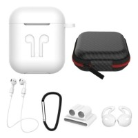 6 in 1 Kit voor AirPods 1 / 2 Wit - Hoesje / Anti-Lost Stra…