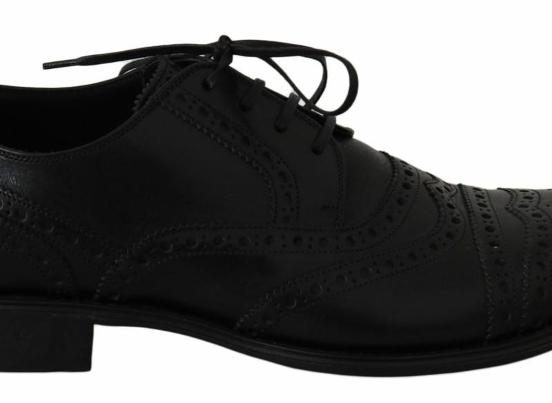 Dolce & Gabbana Black Leather Wingtip Oxford Dress Shoes EU…