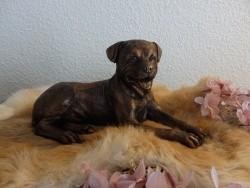 Rottweiler beeld van massief porselein in antiek brons
