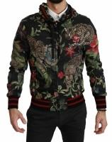 Dolce & Gabbana Black Leopard Bomber Hooded Mens Jacket IT4…