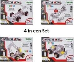 Bouwpakket Creative Metal Set van 4 Stuks 7,3 Cm Raceauto +…