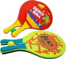 Beachball-set hout + Balletje - gekleurd Oranje of Geel - 8…