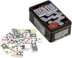 Domino dubbel 12 in blik punten gekleurd
