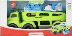 Vrachtwagen Met Vliegtuigen En Geluid Groen/Blauw 30 Cm