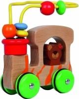 Houten safari auto beer - met motoriek spiraal en houten kr…