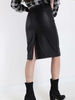 Black Faux Leather Midi Skirt With Belt — M