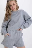 Grey Sweater Short Set — ONE SIZE