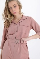 Pink Belt and Buttons Jumpsuit — ONE SIZE