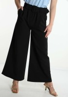 Black Business Wide Leg Belt Trouser — ONE SIZE