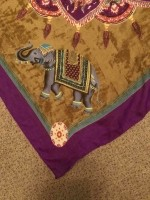 Mooie kleurige sjaal met Olifanten 100x100 cm