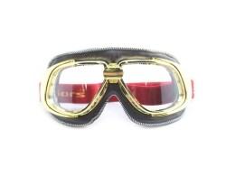Ediors retro gold, brown leather motor gogglesColour glass…