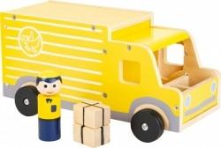 vrachtwagen XL hout jongens 30 cm geel 4-delig