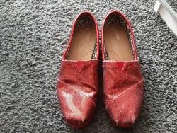Mooie rode glitter Toms schoenen mt W7(37)