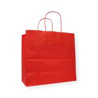 Papieren draagtas rood 250 x 240 mm