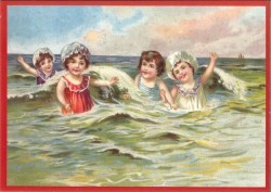 ansichtkaart kinderen aan zee