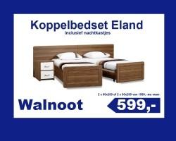 Eland senioren koppelbed Walnoot incl. nachtkastjes