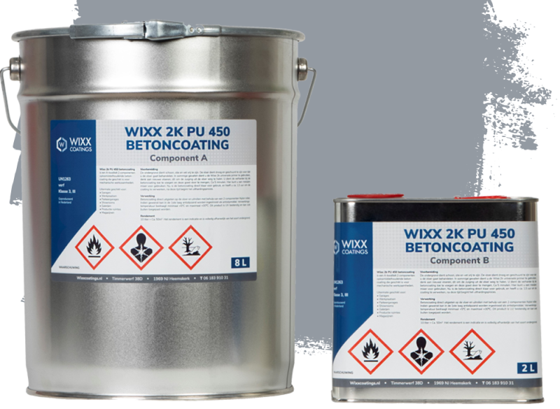 Wixx 2K PU 450 Betoncoating 10L   RAL 7040
