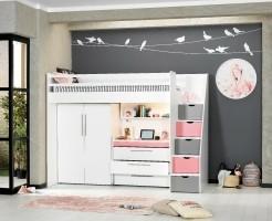 Neo hoogslaper met bureau en ladekast in wit met roze