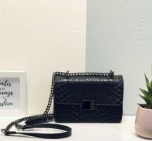 Schouder tas chain Zwart snake mini