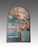 Metalen schildbord Ride with my Pink Cadillac (Pin-Up)