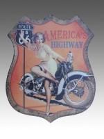 Metalen schildbord Route 66 (Pin-Up)