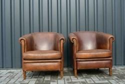 Set schapenleren fauteuils