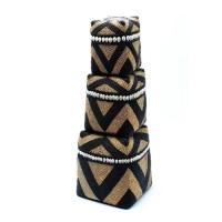Bohemian Bamboo Mand - The Beaded Cowrie Diamond Black Gold…