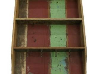 Kapstok sloophout met planken en 4 haakjes