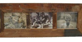 Fotolijst sloophout voor 3 foto's