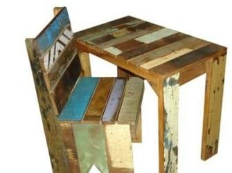 Sloophouten kinderstoel + tafel