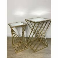 ROSELLE bijzettafel (klein) - Metaal & Spiegelglas - Goud