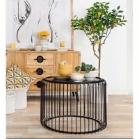 LUGO salontafels - Metaal & Glas - Zwart - Set van 2 st.