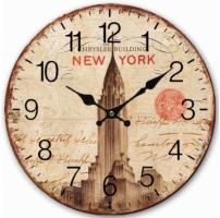 Wandklok hout New York Chrysler Building 30 cm - Wandklok W…