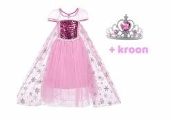 Frozen Elsa luxe jurk + gratis kroon   Blauw / Roze
