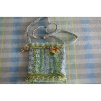 Handtas lichtblauw brocante