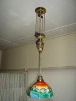 Antiek Beschilderd Hang Lampje met een Gewicht
