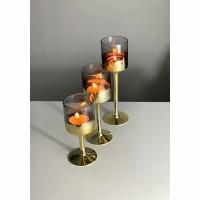 WAY windlicht - Glas - Goud & Grijs - Set van 3 st.