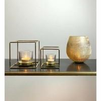 TYLER waxinelicht houders - Metaal & Glas - Goud - Set 2 st…