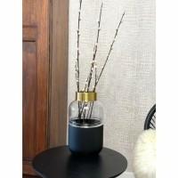 PARERA vaas - Glas & Metaal - Goud, Transparant & Zwart