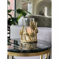PALM windlicht - Polystone & Glas - Goud