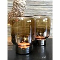 NEW YORK windlicht - Glas - Bruin & Goud - Klein