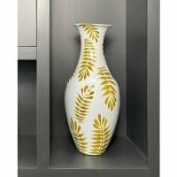 GOLDEN PALM vaas - MDF & Hand geschilderd - Wit & Geel/Goud